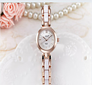 Women's Fashion Watch Simulated Diamond Watch Quartz Ceramic Band Casual Black White Gold Pink Purple