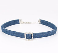 Women's Choker Necklaces Crystal Eco-friendly Material Denim Fabric Square Unique Design Personalized Jewelry ForBirthday Thank You Engagement Daily