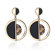 Creative Design Gold Round Half Black Effect Dangle Earrings For Women