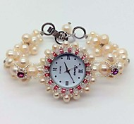 Women's Bracelet Watch Quartz Pearl Band Pink Blushing Pink