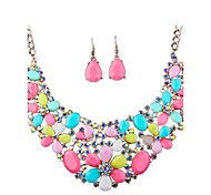 European And American Fashion Candy Colored Hollow Diamond Necklace  Earrings Set