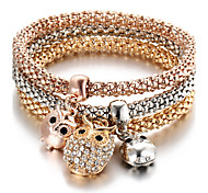 Bohemia Punk Birthday Gift Owl Diamond Pendant Three - color Elasticity Bracelet Valentine Gift Gold1pc
