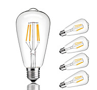 5pcs ST64 4W E27 LED Filament Bulbs COB Warm/Cool White Decorative Vintage Edison Light Bulb Retro Edison Bulbs  AC220-240V