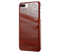 Для Кошелек Бумажник для карт Кейс для Задняя крышка Кейс для Один цвет Твердый Натуральная кожа для AppleiPhone 7 Plus iPhone 7 iPhone