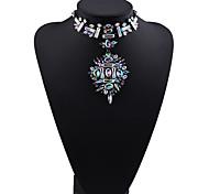 Жен. Заявление ожерелья Бижутерия Бижутерия Драгоценный камень Сплав Мода Euramerican Белый Цвет радуги Красный Бижутерия ДляДля