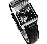 Women's Fashion Watch Quartz Genuine Leather Band Black White Pink