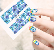 10pcs/set Clear Style Nail Art Water Transfer Decals Beautiful Blue Flower Design Nail DIY Decals STZ-121