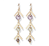 lureme  Pearl Leaf Drop Earrings Jewelry Unique Design Euramerican Crossover Fashion Punk Party Pearl Alloy
