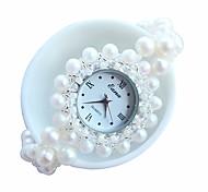 Damen Armband-Uhr Quartz Band Weiß Weiß