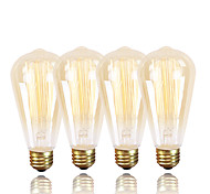 Gmy® st64 edison lâmpada vintage 220-240v 60w e27 âmbar quente branco dimmable decorativo 4pcs