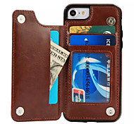 Назначение iPhone X iPhone 8 Чехлы панели Бумажник для карт со стендом Задняя крышка Кейс для Сплошной цвет Твердый Искусственная кожа для