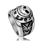 Vintage Letter Skeleton Biker Jewelry Ghost Head Womens Ring Mens Titanium Stainless Steel Index Finger Rings Black Silver