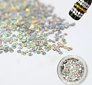 1 Bottle Fashion Silver Laser Glitter Stripe Round Paillette Nail Glitter Decoration Nail DIY Beauty Shiny Clear Thin Slice TW09