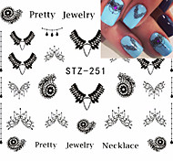 5pcs/set Fashion Sweet Nail Art DIY Lace Belt Water Transfer Decals Beautiful Black Necklace Jewelry Design Decoration Beauty Sticker STZ-251