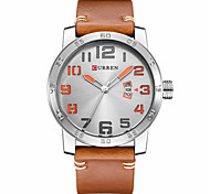 Men's Fashion Watch Chinese Quartz Leather Band Casual Blue Brown