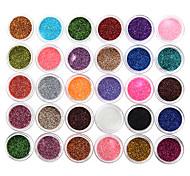 30pcs смешанные цветные тени для век порошок блестки минеральные блестки блестки украшения для ногтей