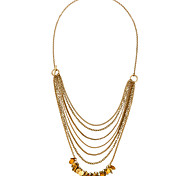 Women's Layered Necklaces Round Chrome Unique Design Personalized Gold Jewelry For Gift Outdoor 1pc