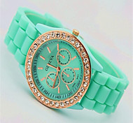Mulheres Relógio de Moda Quartzo Silicone Banda Casual Verde Verde
