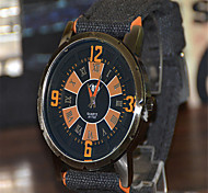 Men's Fashion Watch Quartz Fabric Band Black