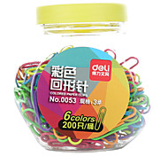 6 color paper clips office supplies 200P