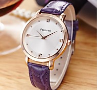 Women's Fashion Watch Quartz Leather Band Black White Blue Red Purple Blue Red Purple Black White