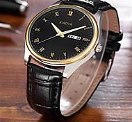 Men's Fashion Watch Quartz Leather Band Black Brown Black/Silver Golden/Brown Black/Gold Black White