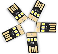 Ywxlight® 5pcs 0.5w 3led 5v 2835smd 22lm usb led bulbs для ноутбука pc power bank белые фонари мини фонарик