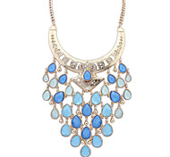 Women's Statement Necklaces Jewelry Jewelry Gem Alloy Euramerican Fashion Personalized Light Green Light Blue Rainbow Jewelry ForParty