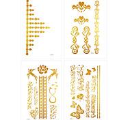 6Pcs Jewelry Accessories Bracelets Gold Tattoo Stickers Waterproof Temporary Glitter Tattoo Sticker