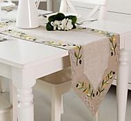 Linen Tablerunner Embroidery Olive Table Runner 40x110cm