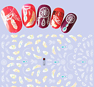 1pcs Fashion Design Nail Art 3D Stickers Colorful Beautiful Feather Nail DIY Beauty Sweet Feather Decoration F179