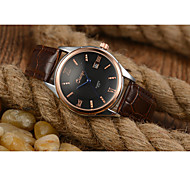 Men's Skeleton Watch Fashion Watch Chinese Quartz Leather Band Brown