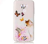 Для Чехлы панели Прозрачный Рельефный С узором Задняя крышка Кейс для Кот Цветы Бабочка Мягкий TPU для LG LG G6