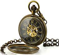 Men's Skeleton Watch Pocket Watch Mechanical Watch Quartz Automatic self-winding Alloy Band Bronze