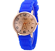 Women's Fashion Watch Quartz Silicone Band Casual White Blue Rose