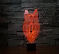 Новые 2017 волков 3 d лампа 7 цвет сенсорный аккумуляторные светодиодные лампы проекционного света сенсорные лампы
