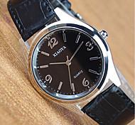 Men's Women's Fashion Watch Quartz Leather Band Black Brown Black/Silver Black/White Brown Silver Black