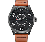 Men's Fashion Watch Quartz Leather Band Orange