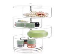 Acrylic Transparent 4 Layer Rotatable Cylinder Large Capacity Makeup Cosmetics Jewelry Storage Box Cosmetic Organizer Jewelry Display Box
