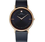 Men's Fashion Watch Quartz Genuine Leather Band Black Orange Brand