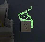 Животные Мода Отдых Наклейки Светящиеся наклейки Декоративные наклейки на стены Наклейки для выключателя света,Бумага материалУкрашение