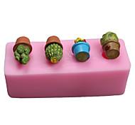 Cactus Bonsai  Fondant Mold DIY Silicone Soap Mold Handmade Soap Salt Carved DIY Silicone Food Grade Silicone Mold