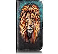 Para huawei p10 lite p8 lite (2017) material de couro pu leão padrão caso de telefone de alívio p10 mais p10 p9 lite p8 lite