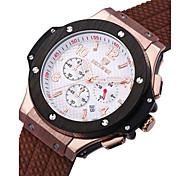 SKONE Men's Sport Watch Fashion Watch Chinese Quartz Silicone Band Black Silver Brown