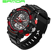 SANDA Men's Sport Watch Digital Watch Japanese Digital Calendar Dual Time Zones Alarm Stopwatch Noctilucent Rubber Band Cool Casual Black