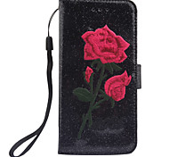 For Apple iPhone 7 7 Plus 6S 6 Plus SE 5S 5 Case Cover The New Roses Pattern Manual Embroidery PU Skin Material Phone Case