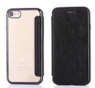 Para o iphone da maçã 7 mais 7 caso do chapeamento do suporte de cartão caso do corpo cheio cor sólida couro do plutônio duro para o