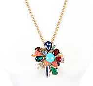 Women's Pendant Necklaces Flower Chrome Unique Design Personalized Rainbow Jewelry For Gift Outdoor 1pc