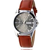 Men's Fashion Watch Quartz Leather Band Brown