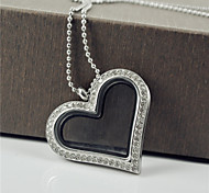 Popular and Fashion Heart Shape Full Cubic Zirconia 316L Stainless Steel  Pocket Pendant Necklace